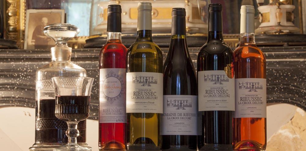 Les vins du Domaine de Rieussec : terrasses du larzac, coteaux du languedoc, rouge, blanc, rosé, vin doux
