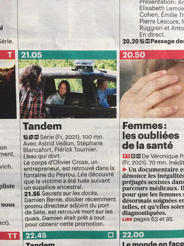 Tandem la série au Domaine de Rieussec - programme TV